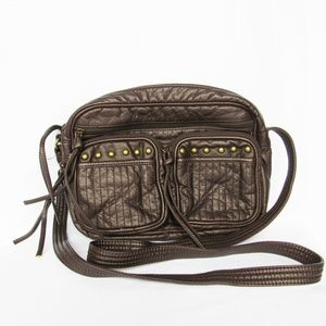Brown Crossbody with Two Front Studded Pockets
